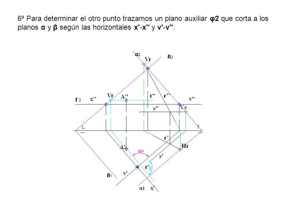 6º Para determinar el otro punto trazamos un plano auxiliar φ2 que corta a los planos α y β según las horizontales x'-x'' y v'-v''.