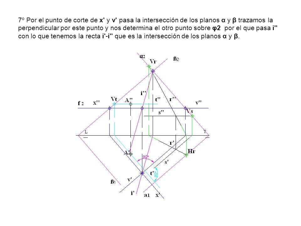 7º Por el punto de corte de x' y v' pasa la intersección de los planos α y β trazamos la perpendicular por este punto y nos determina el otro punto so