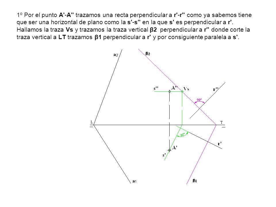 1º Por el punto A'-A'' trazamos una recta perpendicular a r'-r'' como ya sabemos tiene que ser una horizontal de plano como la s'-s'' en la que s' es