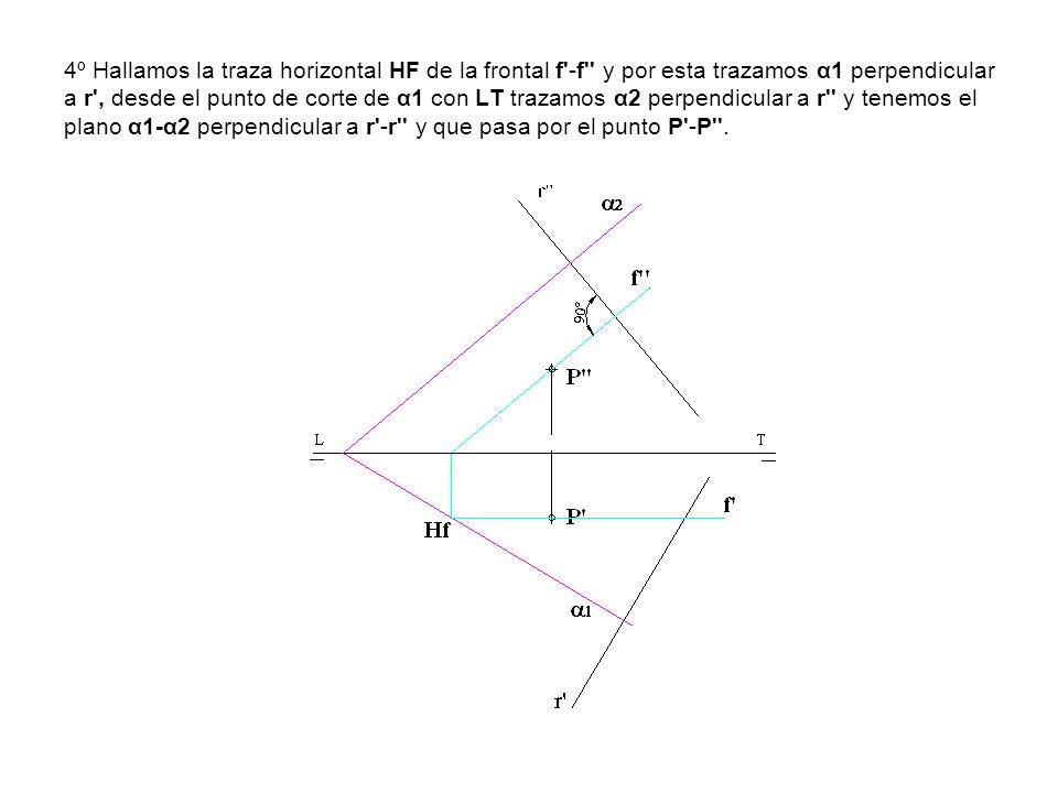 4º Hallamos la traza horizontal HF de la frontal f'-f'' y por esta trazamos α1 perpendicular a r', desde el punto de corte de α1 con LT trazamos α2 pe