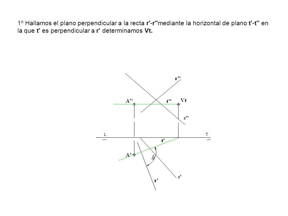 1º Hallamos el plano perpendicular a la recta r'-r''mediante la horizontal de plano t'-t'' en la que t' es perpendicular a r' determinamos Vt.