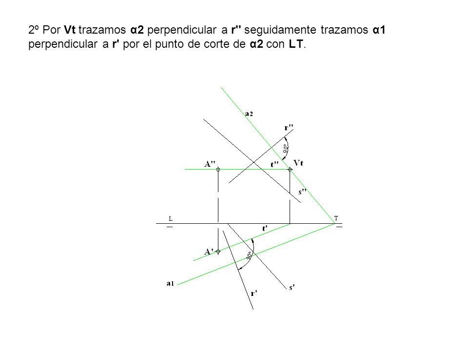 2º Por Vt trazamos α2 perpendicular a r'' seguidamente trazamos α1 perpendicular a r' por el punto de corte de α2 con LT.