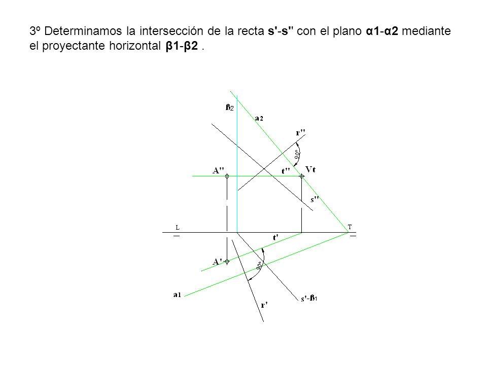 3º Determinamos la intersección de la recta s'-s'' con el plano α1-α2 mediante el proyectante horizontal β1-β2.