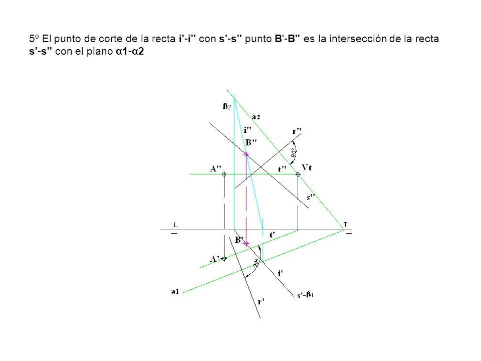 5º El punto de corte de la recta i'-i'' con s'-s'' punto B'-B'' es la intersección de la recta s'-s'' con el plano α1-α2