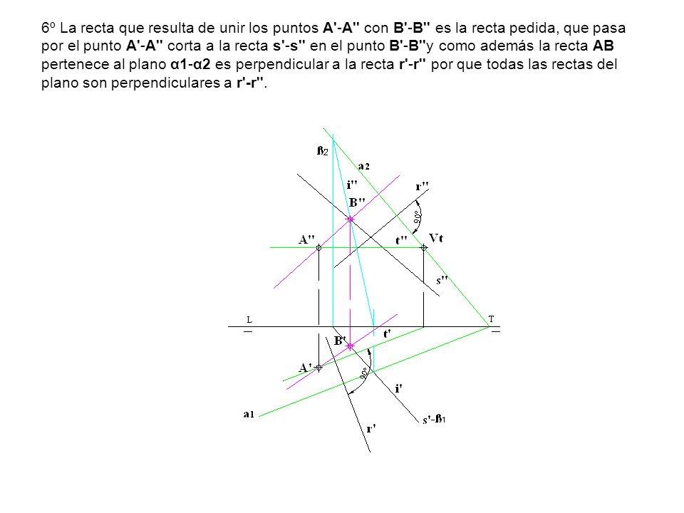 6º La recta que resulta de unir los puntos A'-A'' con B'-B'' es la recta pedida, que pasa por el punto A'-A'' corta a la recta s'-s'' en el punto B'-B