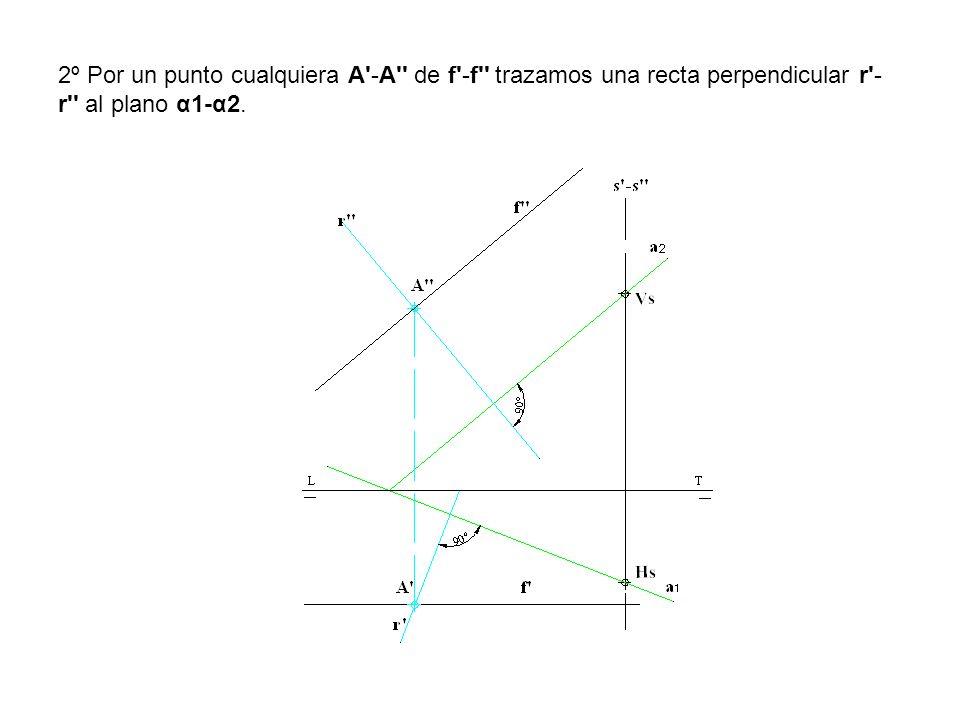2º Por un punto cualquiera A'-A'' de f'-f'' trazamos una recta perpendicular r'- r'' al plano α1-α2.