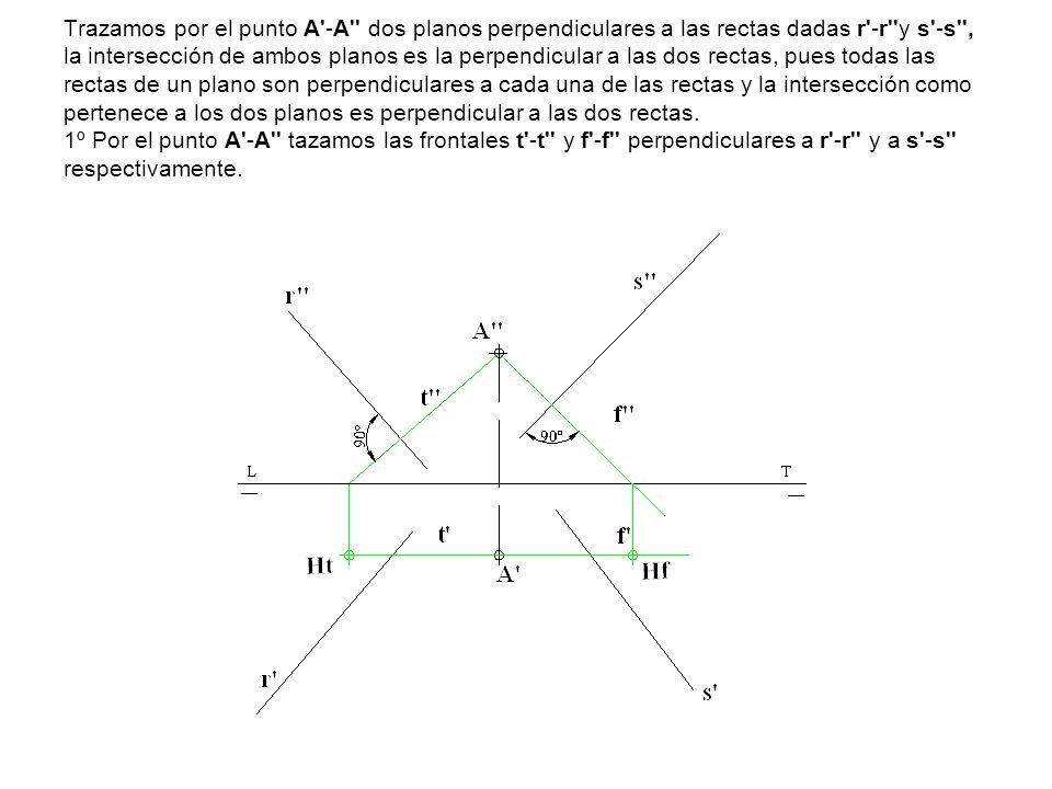 Trazamos por el punto A'-A'' dos planos perpendiculares a las rectas dadas r'-r''y s'-s'', la intersección de ambos planos es la perpendicular a las d