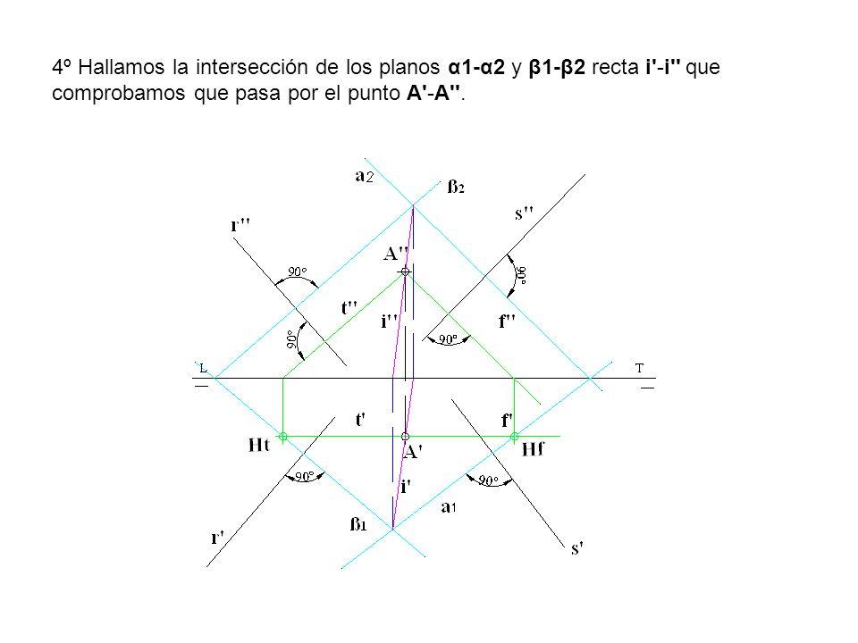 4º Hallamos la intersección de los planos α1-α2 y β1-β2 recta i'-i'' que comprobamos que pasa por el punto A'-A''.