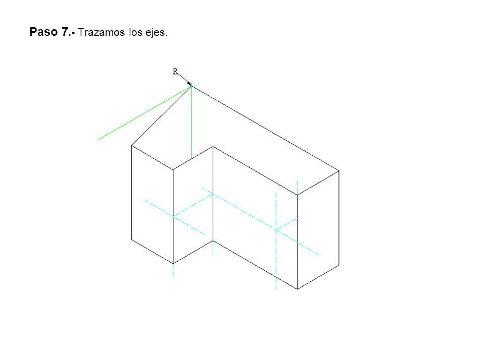 Paso 8.- Trazamos el circulo isométrico.