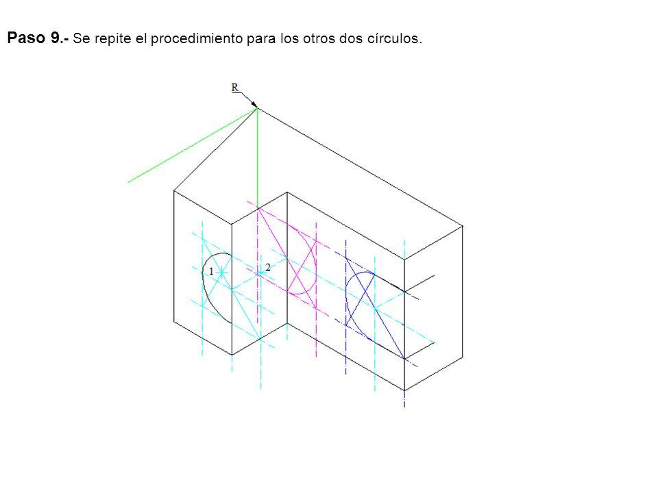 Paso 10.- Trazamos las rectas que unen los círculos y la cuarta parte del que falta