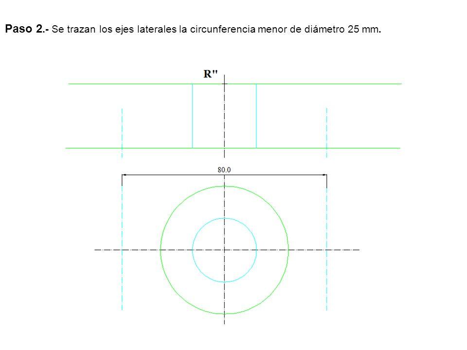 Paso 3.- Se traza la circunferencia mayor como vemos la altura de la parte que sale por los lados a 10 mm y llevamos el circulo al alzado.