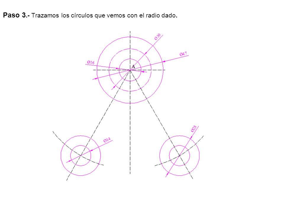 Paso 4.- Trazamos los nervios que forman el ángulo de 30º con un espesor de 4 mm.