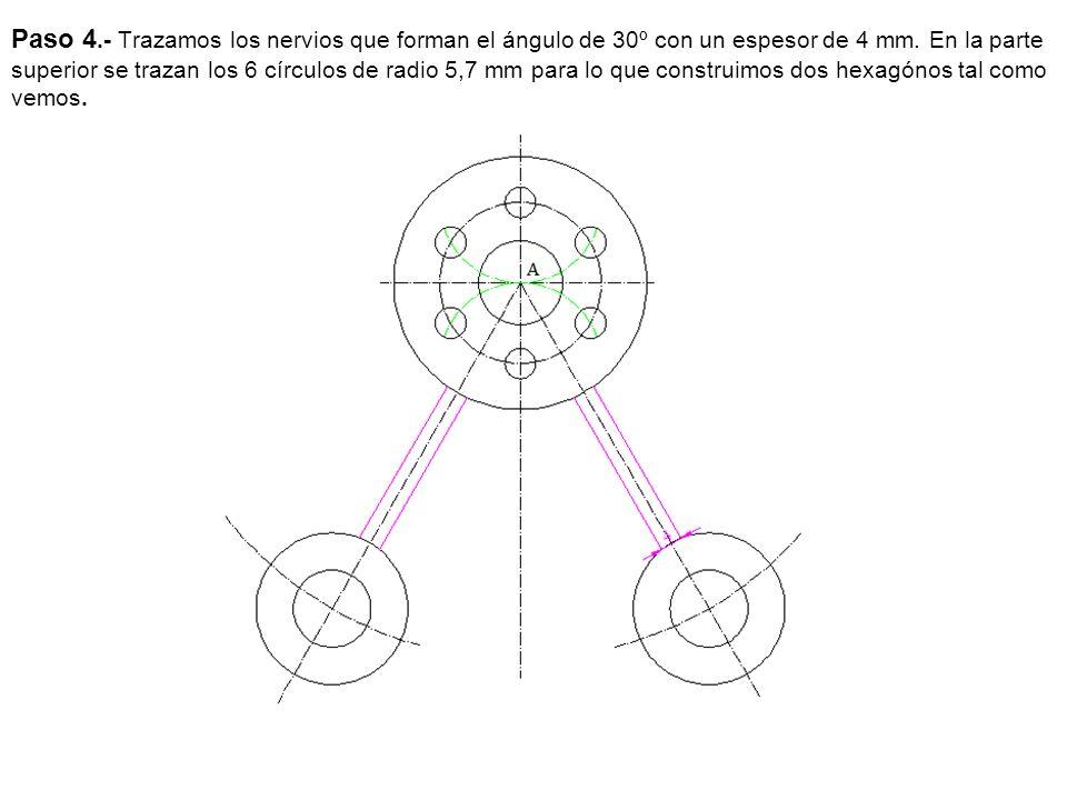 Paso 5.- trazamos el enlace inferior, trazamos dos círculos de radio 38 mm que se tienen que cortar en el eje porque la pieza es simétrica, a continuación hallamos los puntos de tangencia.