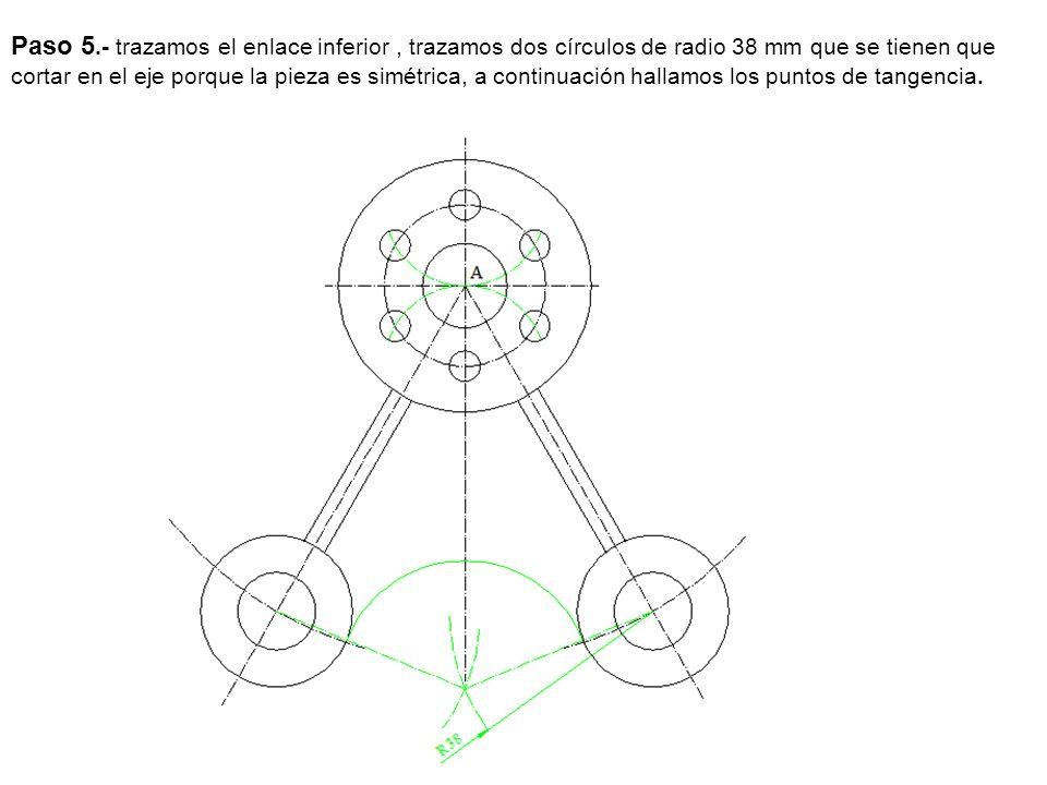 Paso 6.- Hallamos los otros centros para ello con centro en A trazamos un arco de radio 48 mm y centro en los otros dos centros otros arcos de radio 57, que nos determinan los centros y a continuación hallamos los puntos de tangencia.
