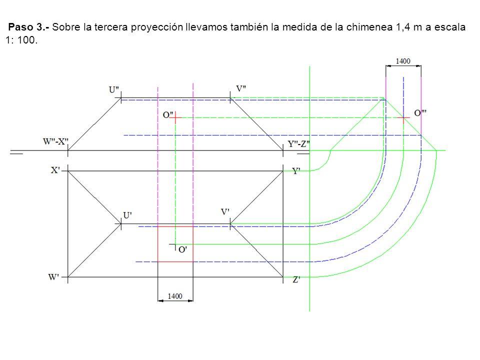 Paso 3.- Sobre la tercera proyección llevamos también la medida de la chimenea 1,4 m a escala 1: 100.