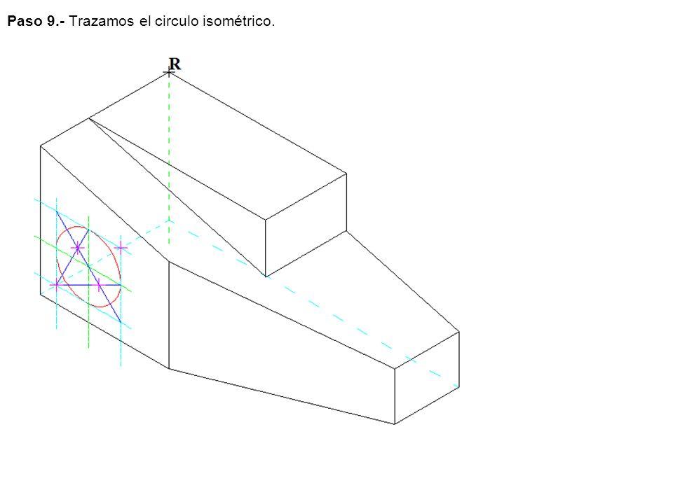 Paso 9.- Trazamos el circulo isométrico.