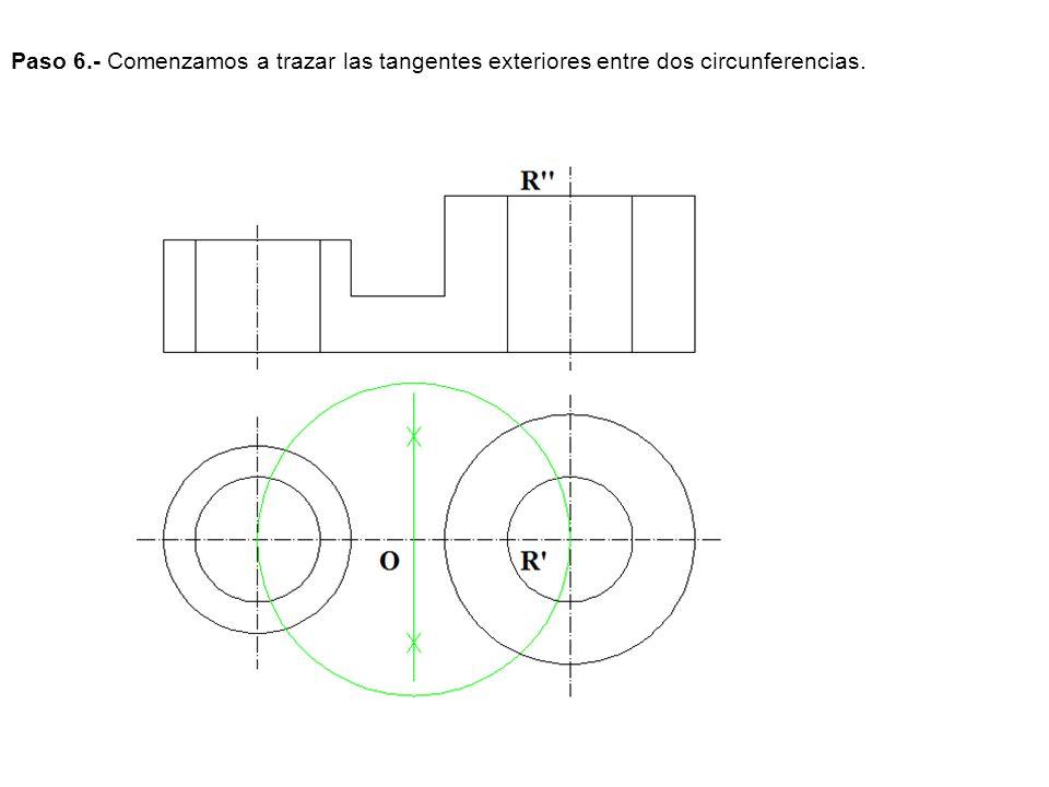 Paso 7.- Seguimos trazando las tangentes exteriores entre dos circunferencias.