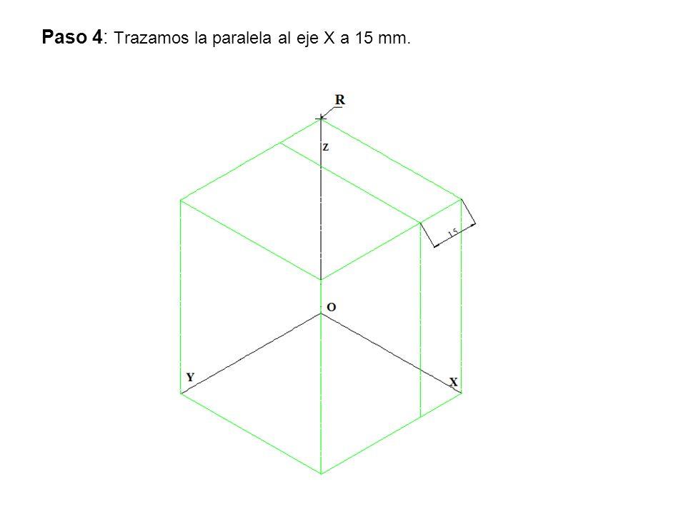 Paso 4: Trazamos la paralela al eje X a 15 mm.