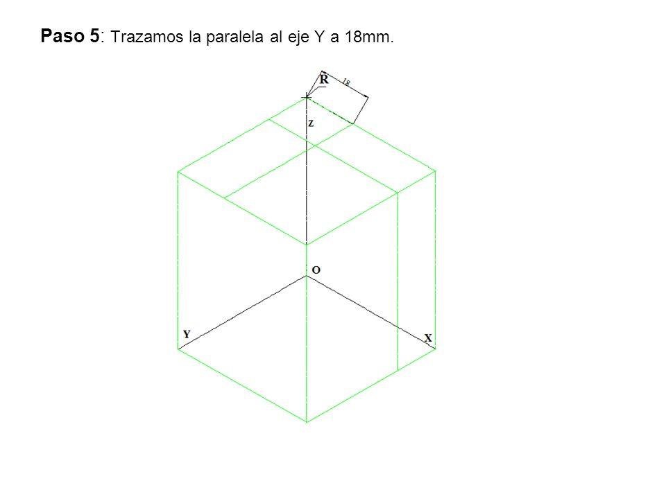 Paso 6: Trazamos las paralelas al eje Z y tomamos 8 mm.