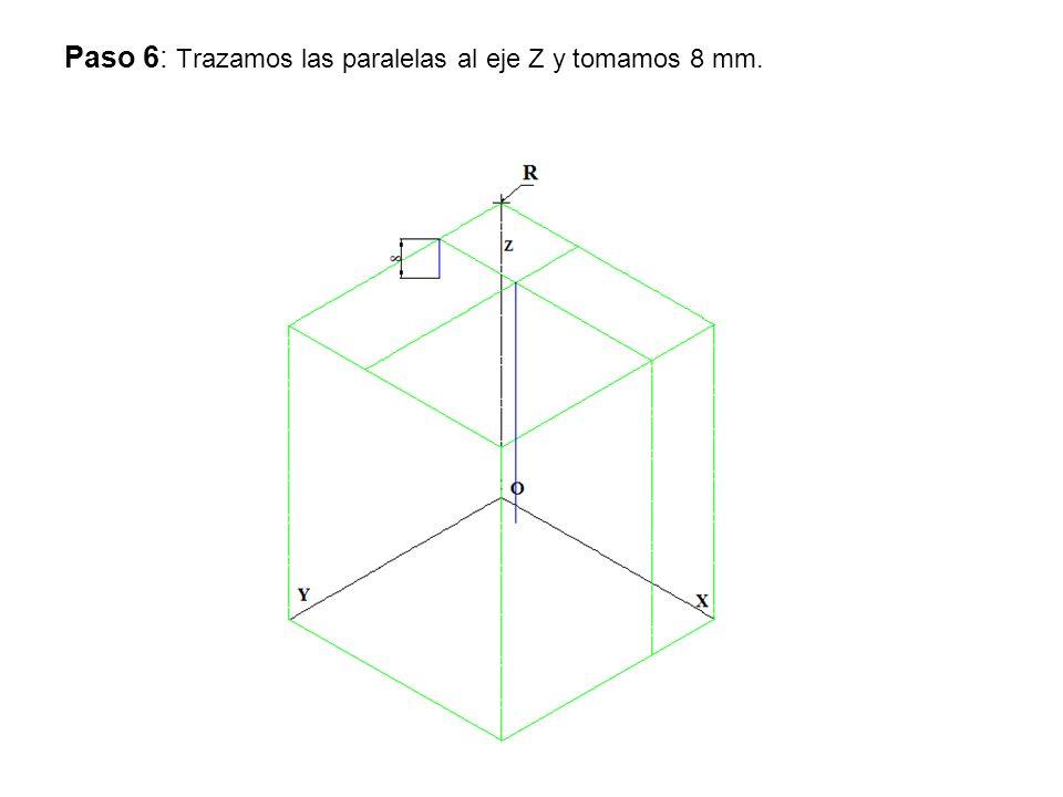 Paso 7: Trazamos por los 8 mm la paralela a eje X.