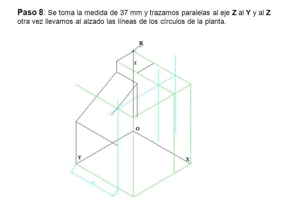 Paso 8: Se toma la medida de 37 mm y trazamos paralelas al eje Z al Y y al Z otra vez llevamos al alzado las líneas de los círculos de la planta.