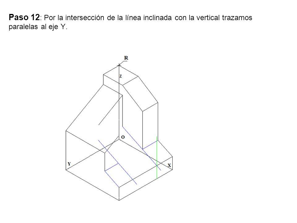 Paso 13 : Por la intersección de la línea inclinada con la paralela al eje Y.
