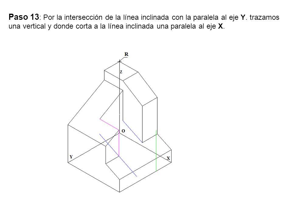 Paso 13 : Por la intersección de la línea inclinada con la paralela al eje Y. trazamos una vertical y donde corta a la línea inclinada una paralela al