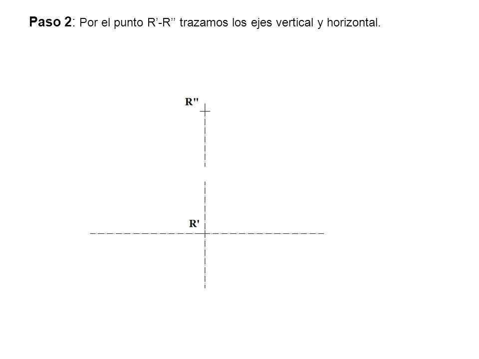 Paso 2: Por el punto R-R trazamos los ejes vertical y horizontal.