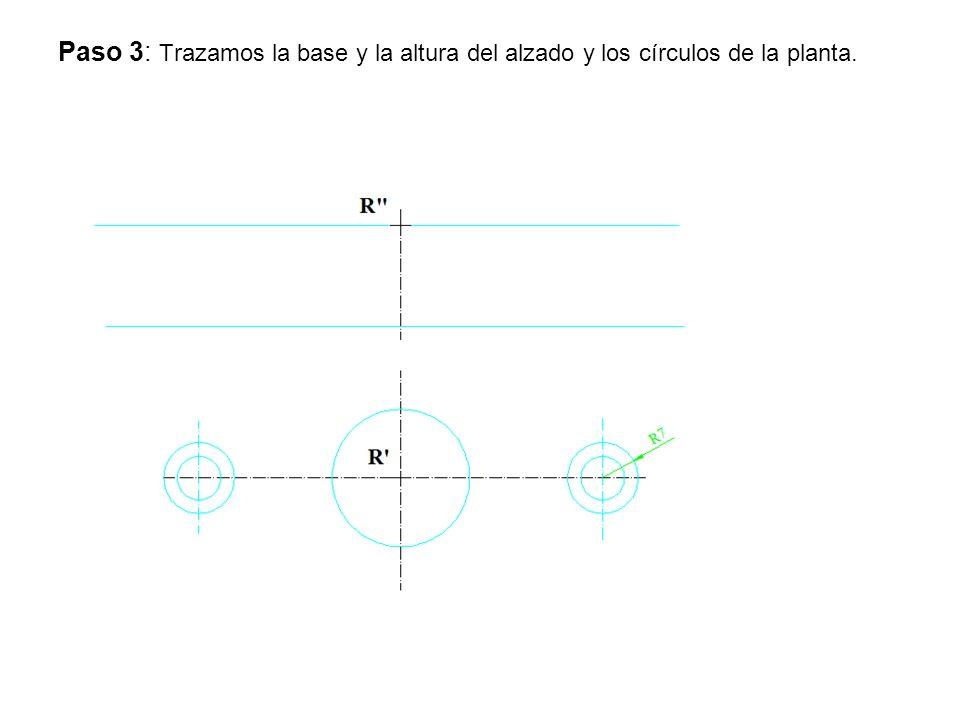 Paso 3: Trazamos la base y la altura del alzado y los círculos de la planta.