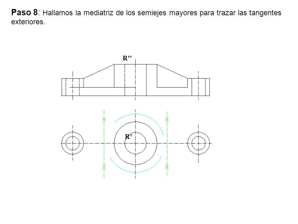 Paso 9: Trazamos la circunferencias con centro en la mediatriz y que pase por los centros.
