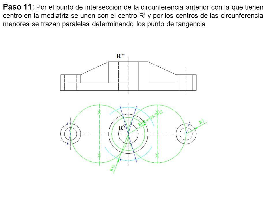 Paso 11: Por el punto de intersección de la circunferencia anterior con la que tienen centro en la mediatriz se unen con el centro R y por los centros