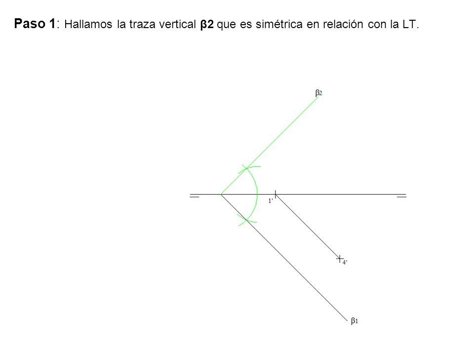 Paso 1: Hallamos la traza vertical β2 que es simétrica en relación con la LT.