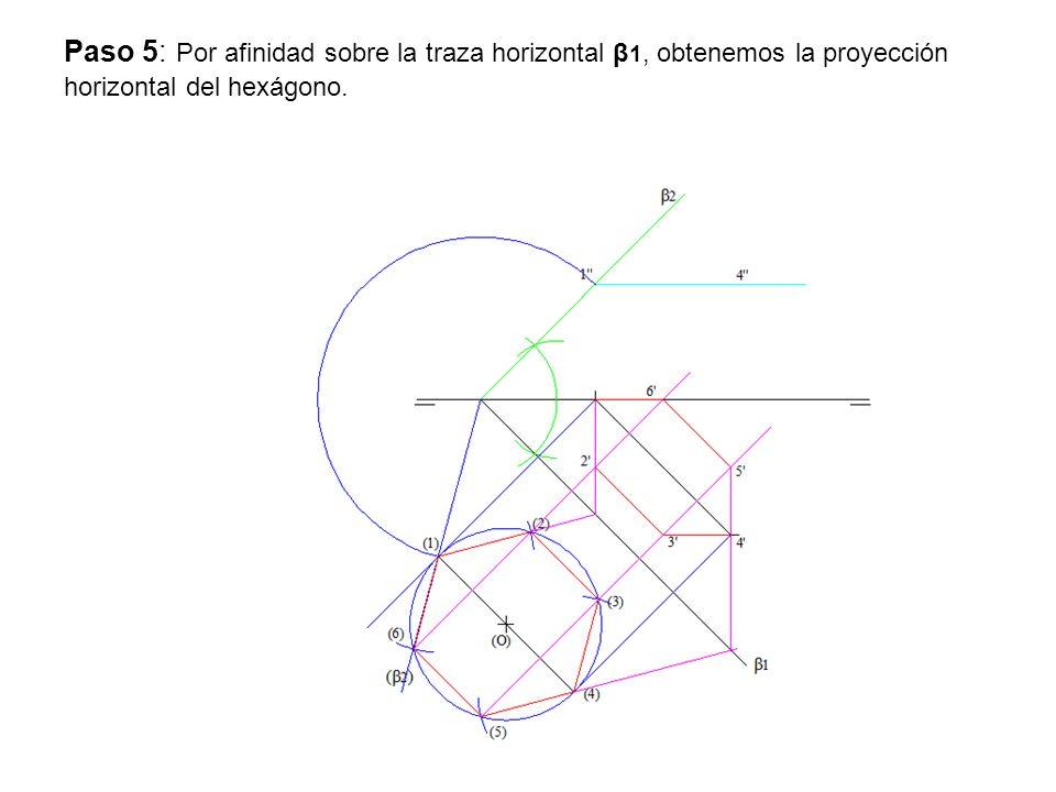 Paso 6: Hallamos la proyección vertical del Hexágono mediante horizontales del plano β1- β2.