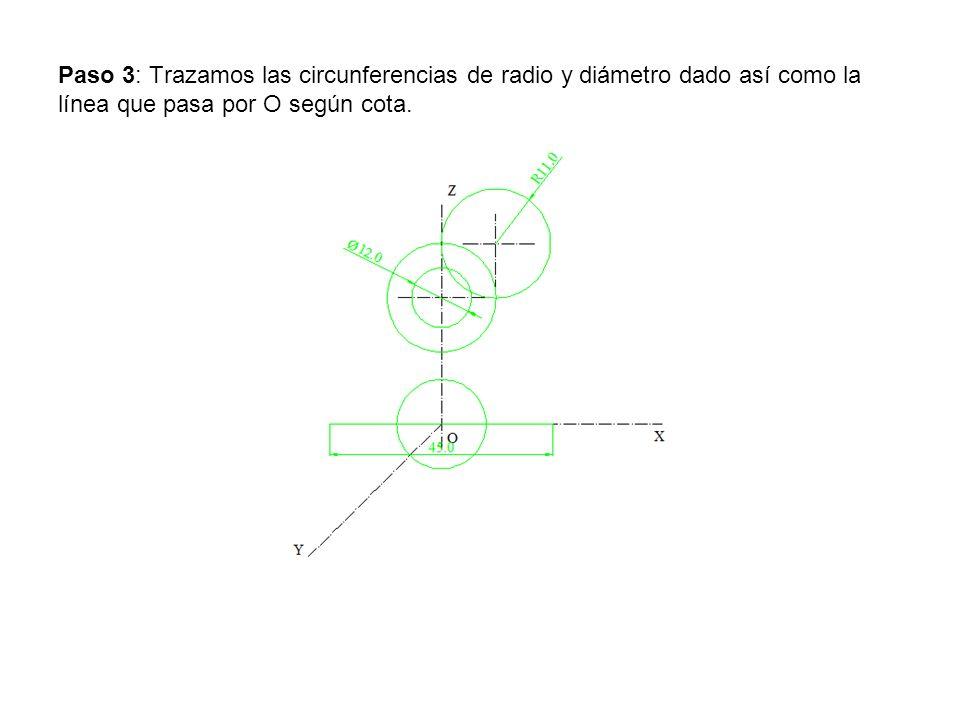 Paso 4: Por los extremos de la recta del eje X trazamos paralelas al eje Y.