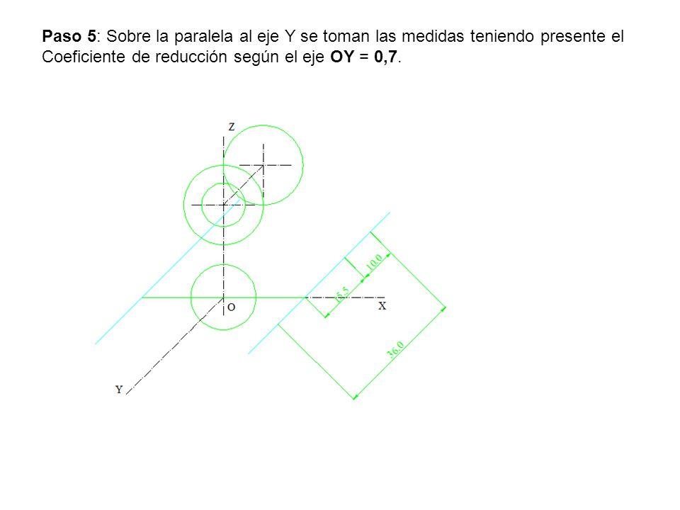Paso 5: Sobre la paralela al eje Y se toman las medidas teniendo presente el Coeficiente de reducción según el eje OY = 0,7.