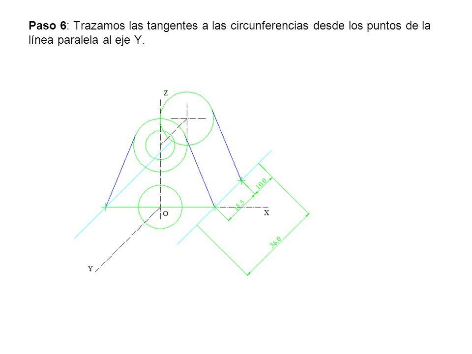 Paso 6: Trazamos las tangentes a las circunferencias desde los puntos de la línea paralela al eje Y.