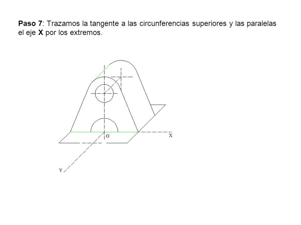 Paso 7: Trazamos la tangente a las circunferencias superiores y las paralelas el eje X por los extremos.
