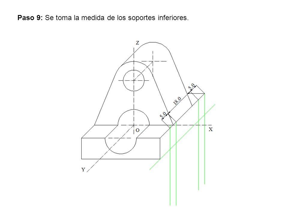 Paso 9: Se toma la medida de los soportes inferiores.