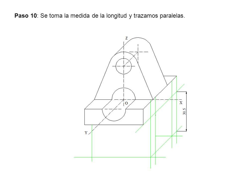 Paso 10: Se toma la medida de la longitud y trazamos paralelas.