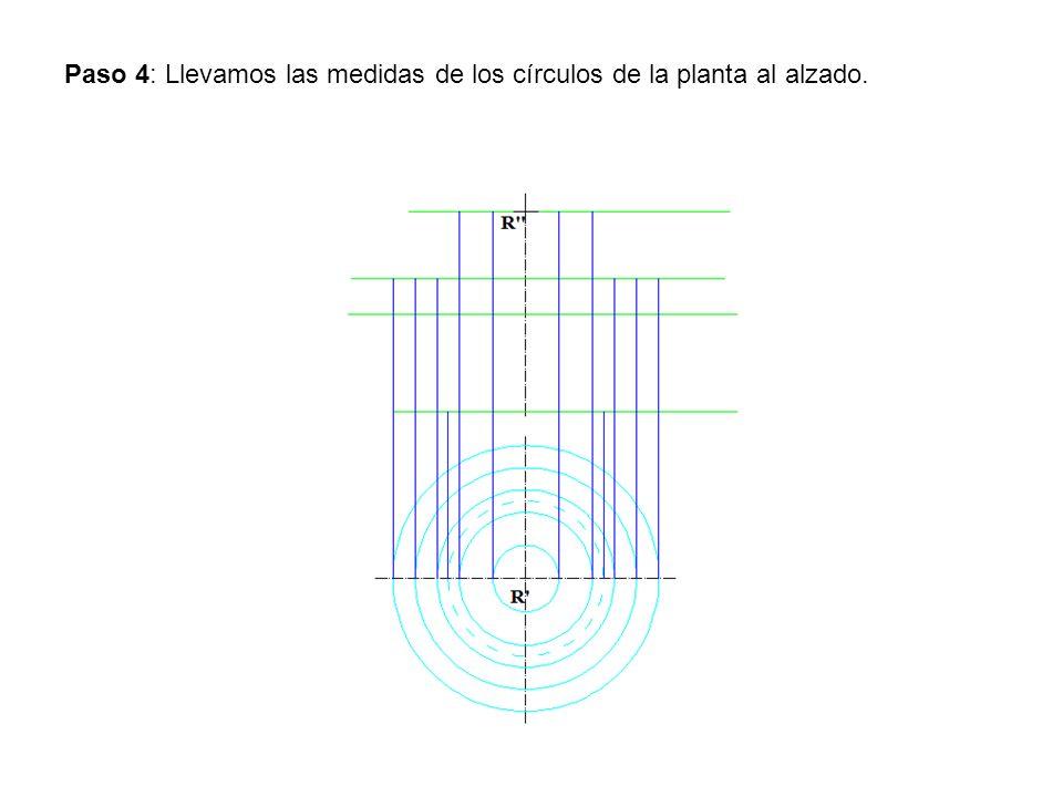 Paso 4: Llevamos las medidas de los círculos de la planta al alzado.