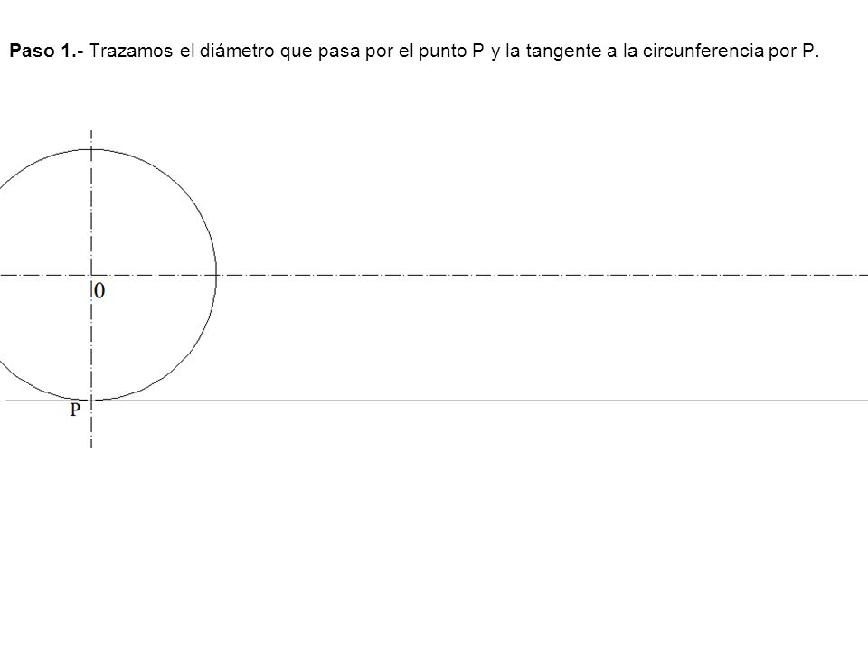 Paso 2.- Calculamos la longitud de la circunferencia y la llevamos sobre la recta a partir del punto P.