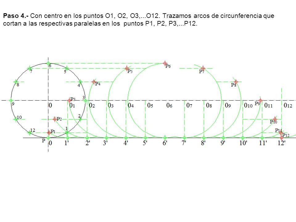 Paso 4.- Con centro en los puntos O1, O2, O3,...O12. Trazamos arcos de circunferencia que cortan a las respectivas paralelas en los puntos P1, P2, P3,