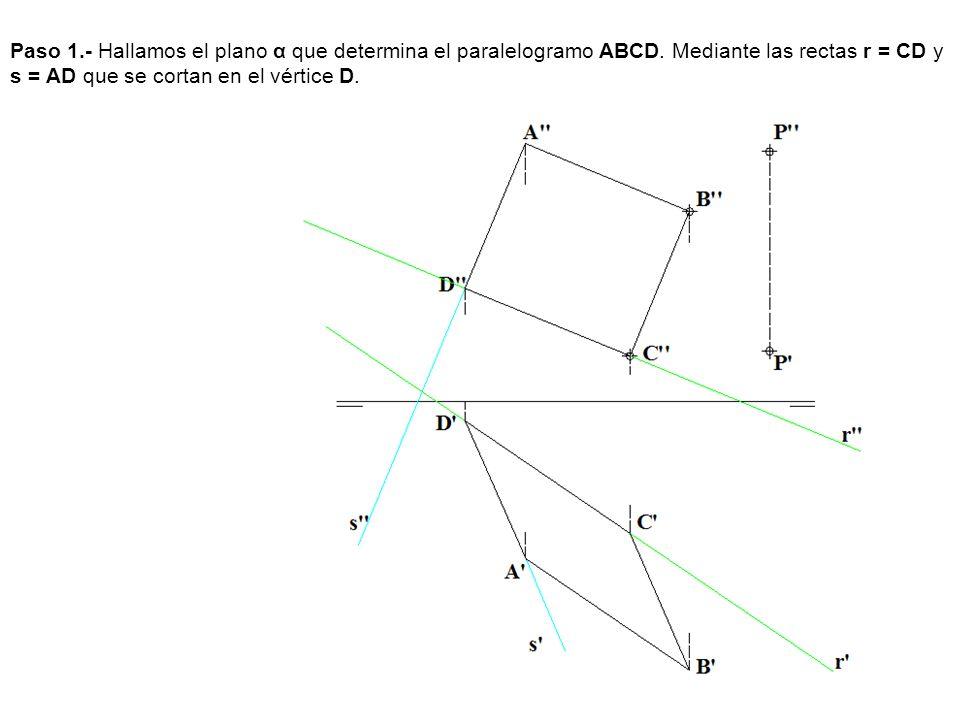Paso 1.- Hallamos el plano α que determina el paralelogramo ABCD. Mediante las rectas r = CD y s = AD que se cortan en el vértice D.