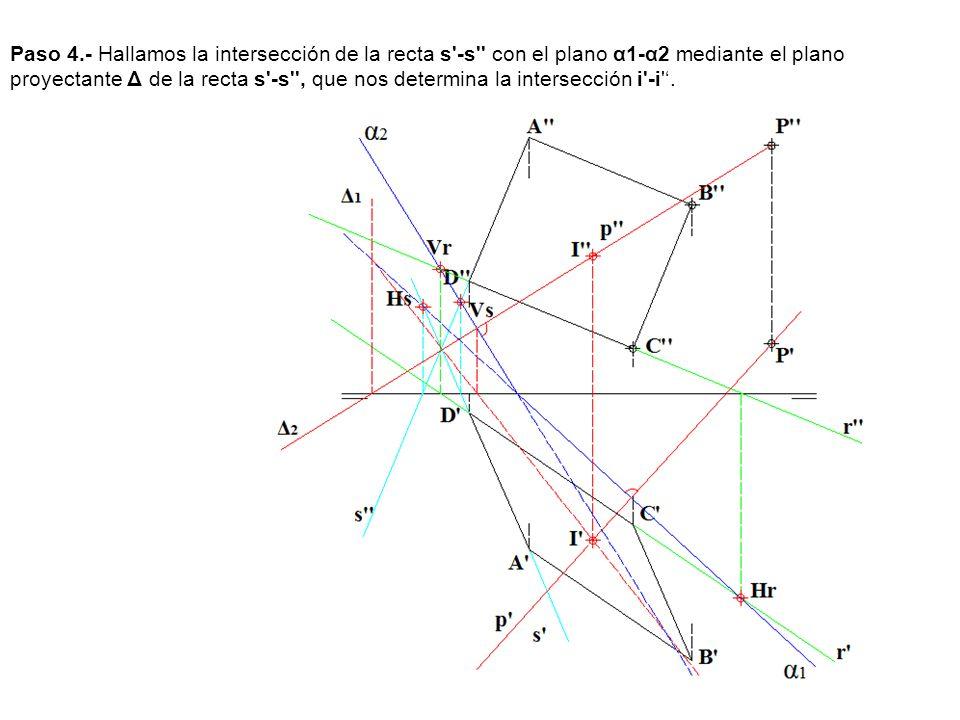 Paso 4.- Hallamos la intersección de la recta s'-s'' con el plano α1-α2 mediante el plano proyectante Δ de la recta s'-s'', que nos determina la inter