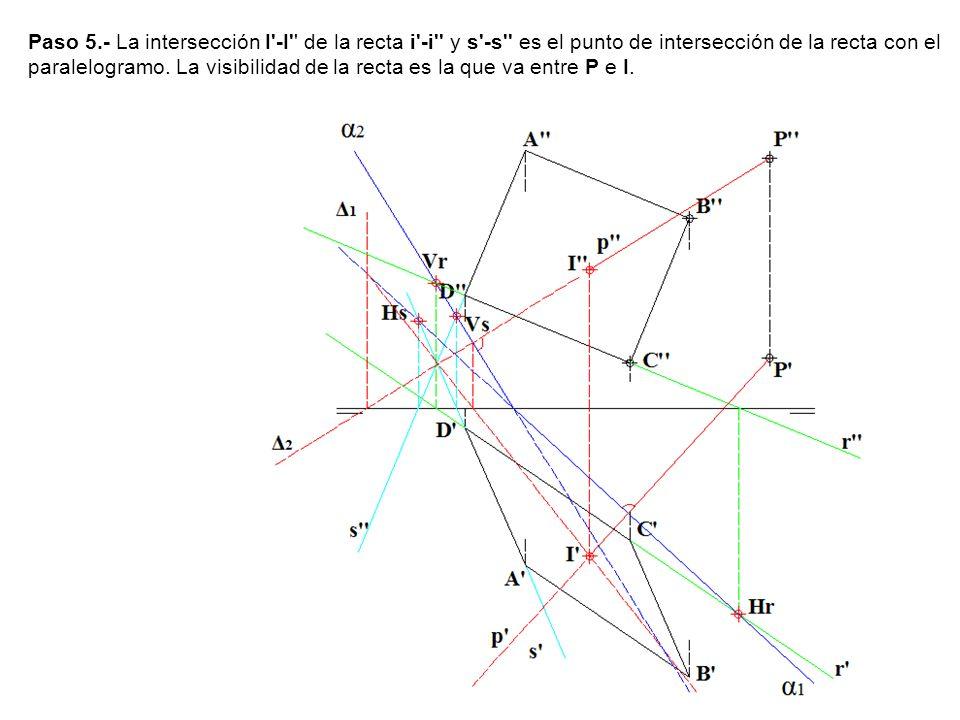 Paso 5.- La intersección I'-I'' de la recta i'-i'' y s'-s'' es el punto de intersección de la recta con el paralelogramo. La visibilidad de la recta e
