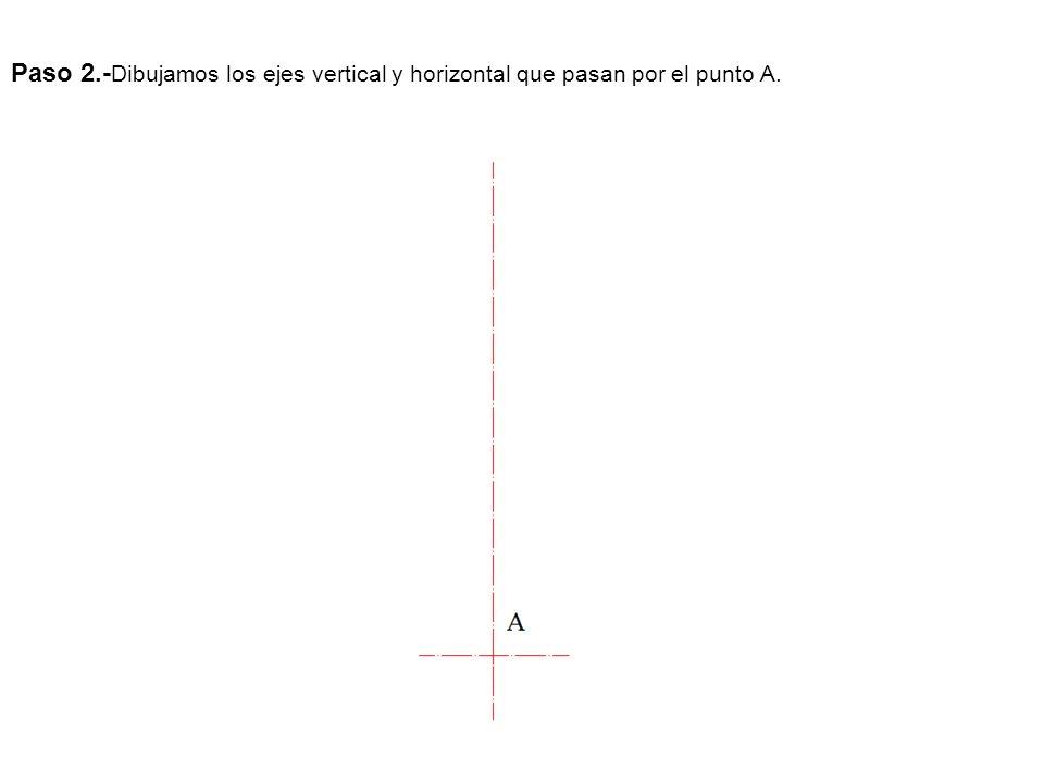 Paso 2.- Dibujamos los ejes vertical y horizontal que pasan por el punto A.