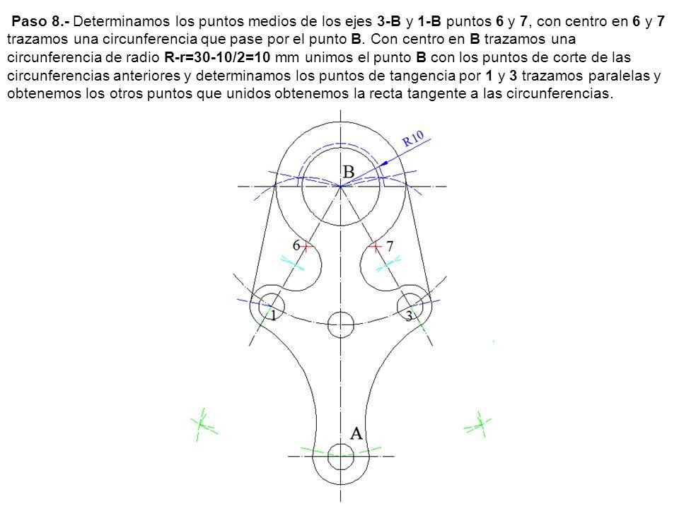 Paso 8.- Determinamos los puntos medios de los ejes 3-B y 1-B puntos 6 y 7, con centro en 6 y 7 trazamos una circunferencia que pase por el punto B. C