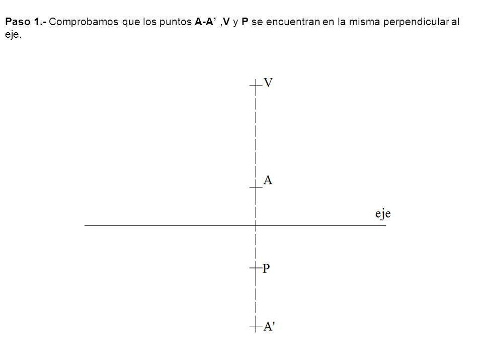 Paso 1.- Comprobamos que los puntos A-A,V y P se encuentran en la misma perpendicular al eje.