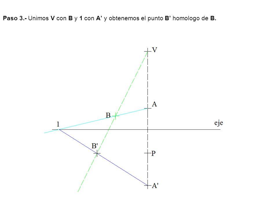 Paso 3.- Unimos V con B y 1 con A y obtenemos el punto B homologo de B.