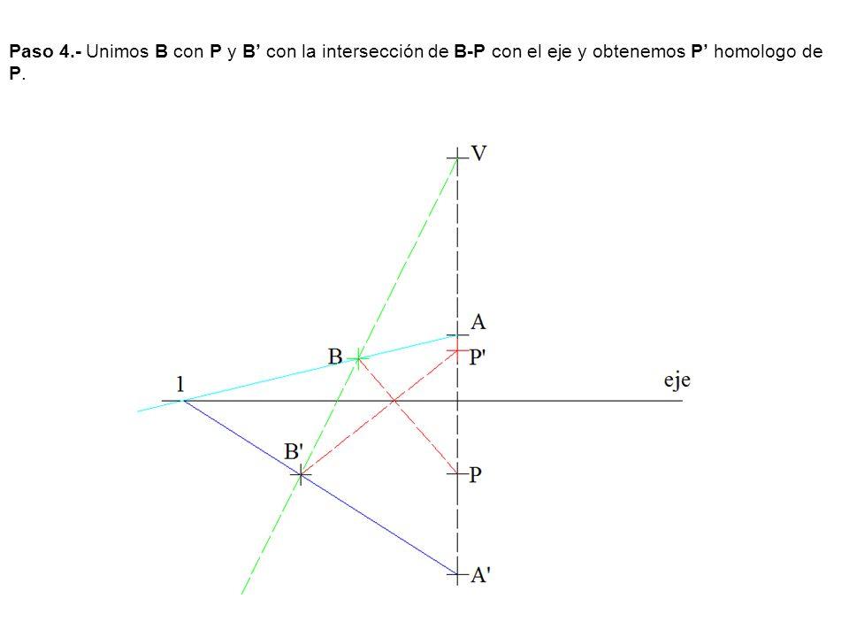 Paso 4.- Unimos B con P y B con la intersección de B-P con el eje y obtenemos P homologo de P.